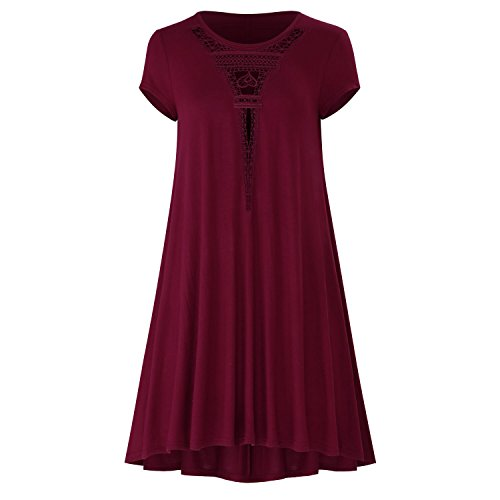 MissyLife Women's Short Sleeve Front Lace Crochet Hollow Out Casual Loose Tunic Swing T-Shirt Dress(WineRed,S)