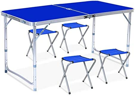 アウトドアテーブル キャンプ用 ミニテーブル 机 BBQ用 ロールテーブル 4FTの携帯用屋外の折りたたみ式テーブルは釣りのピクニックキャンプおよび旅行のために適した軽量の小さい家族のテーブルを細くします 軽量 耐熱 耐水 防汚 キャンプ ピクニック (Color : Blue, Size : 120*60*55cm)