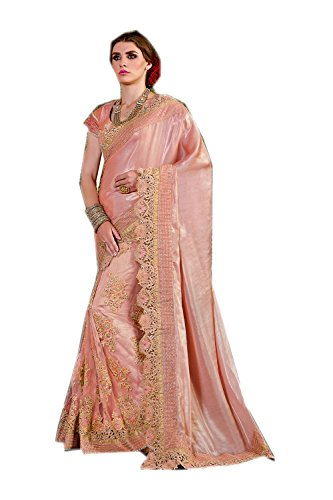 Da Facioun Indian Sarees For Women Wedding Designer Party Wear Traditional Pastel Pink Sari by Da Facioun