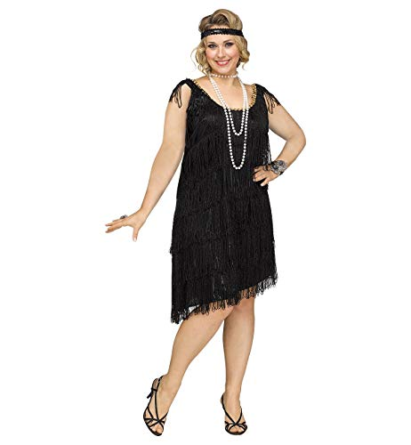 (Fun World Women's Plus Size Shimmery Flapper Costume, Black,)