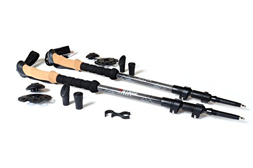 STAGE 100% Carbon Fiber Quick Lock Trekking Poles Cork Grips - All Season by STAGE