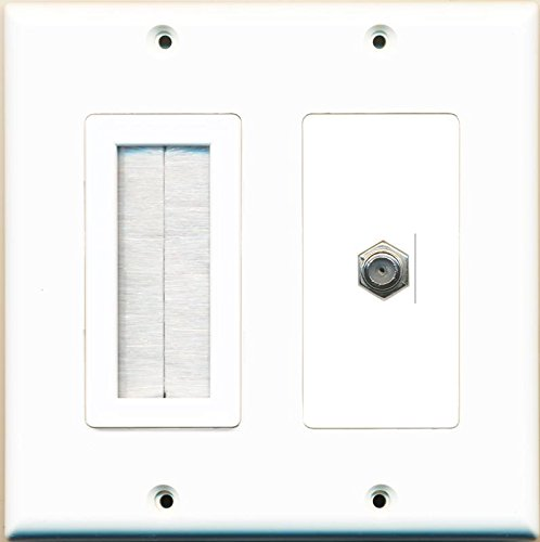 RiteAV Mesh Brush Coax Cable TV Wall Plate Dual 2 Gang Decorative White ()