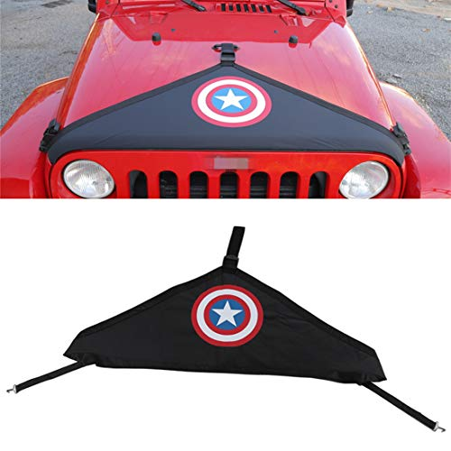 - YOCTM Car Styling Black Front Hood Cover Bra Protector Cover T-Style Protector Kit for 2007-2018 Jeep Wrangler JK Rubicon Sahara Sport Parts Accessories (Shield)