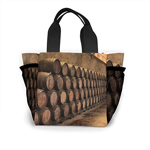 (Wine Barrels Lunch Bag Large Capacity, Resistant To Dirt And Easy To Clean, Two Mesh Pockets On Both Sides.)