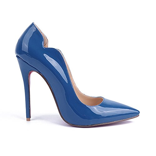 Shoemaker'S Heart High Heels Single Shoes Blue Heels Pointed Shoes European And American Fashion Shoes Blue (European Heel)