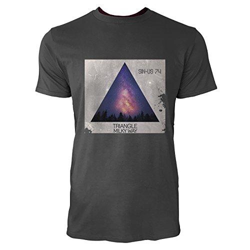 SINUS ART® Space Dreieck mit Milchstraße Herren T-Shirts in Smoke Fun Shirt mit tollen Aufdruck