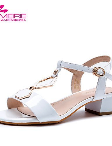 ShangYi MeiRie'S Women's Shoes Patent Leather Chunky Heel Heels/Open Toe Sandals Casual Black/Blue/White Black yqF3tIO