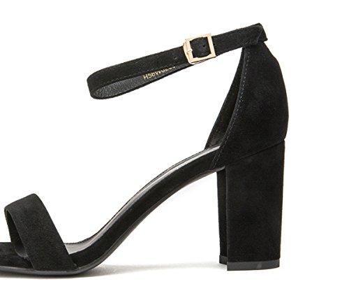 alti Sandali a tacco casual estivi Pantofole Nero tacco Sandali alla donna basso con da piatti Tacchi DHG basso moda 36 Sandali x6Ufw0q77