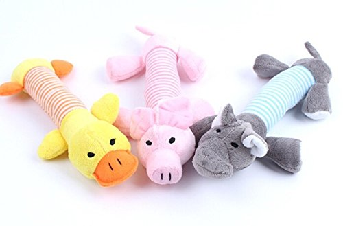 Pet Toy Dog Puppy Chew Squeaker Squeaky Plush Sound Duck Pig & (Jack Russell Muzzle)