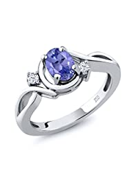 0.90 Ct Oval Blue Tanzanite and White Topaz 925 Sterling Silver Women's Ring