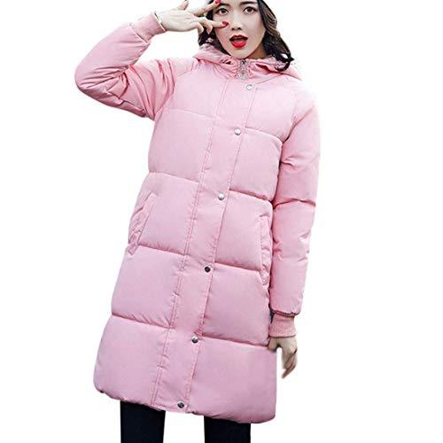 Manga Espesar Parka Mujer Larga Invierno Elegantes Plumas Pluma Largos Hooded Invierno Outdoor Rosa Caliente Acolchado Abrigo Casuales 8Fqw6xvnB