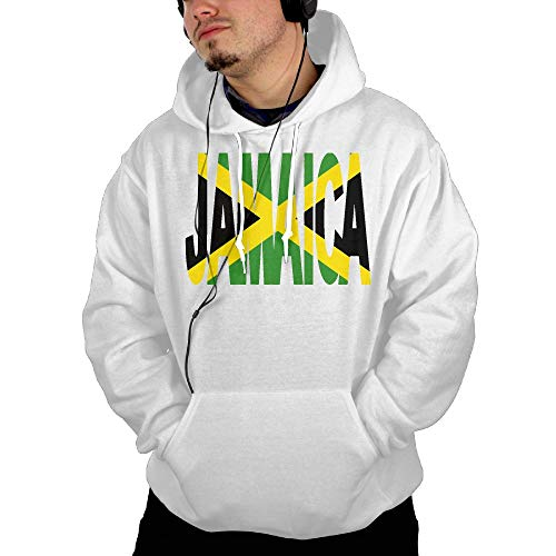 (KEQ&JSW Mens Long Sleeve Sweatshirt Hoodie, Jamaica Text with Jamaican Flag Outer Jacket with Kanga)