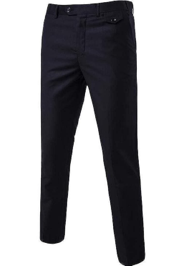 BYWX Men Slim Plus Size Solid Colors Comfort Soft Casual Pants Trousers