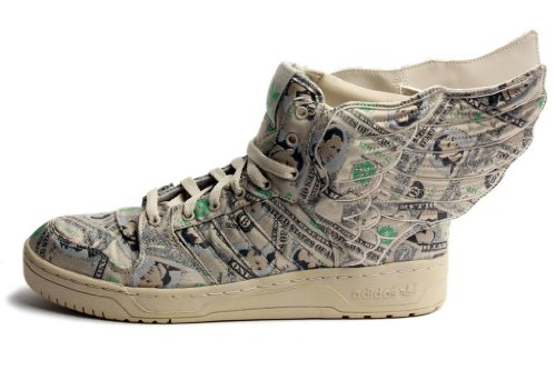 Jeremy Scott Wings 2.0 Money Mens in White/Aloe by Adidas, - Jeremy Scott