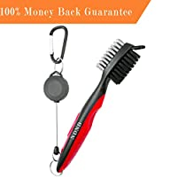 Golf Club Brush, 2 Ft Retractable Club Groove Cleaner with Zip-line Aluminum Carabiner, Lightweight and Stylish, Ergonomic Design, Easily Attached to Golf Bag