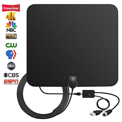 2018 NEWEST 50-80 Miles Long Range TV Antenna Amplified HD Digital TV Antenna Support 4K 1080p VHF UHF for Indoor with Detachable Powerful Ampliflier Signal Booster Strongest Reception 10ft Coax Cable