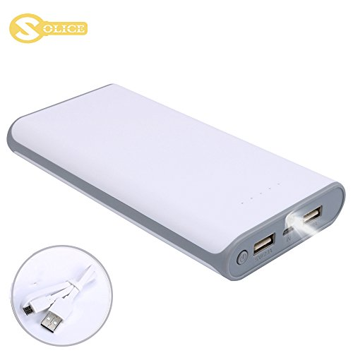 SOLICE 20000mAh Dual USB Output Portable Charger External Cell Phone Battery Pack Power Bank with LED light for iPhone, iPad & Samsung Galaxy & More (Gray)