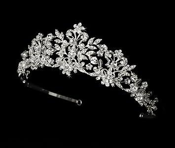 41e86b6de Amazon.com : Neidy Swarovski Crystal and White Pearl Wedding Bridal Tiara :  Fashion Headbands : Beauty