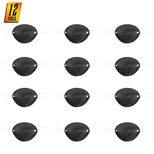 Skeleteen Pirate Black Eye Patch - Eyepatch for Pirate Themed Party Favors and Decorations - 12 Pack -
