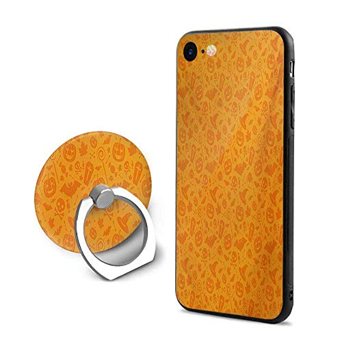 Halloween iPhone 7/iPhone 8 Cases,Monochrome Design with Traditional Halloween Themed Various Objects Pumpkin Bat Print Orange,Design Mobile Phone Shell Ring -