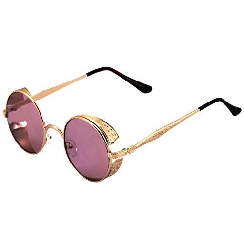 Elite Steampunk Retro Gothic Vintage Hippie Colored Metal Round Circle Frame Sunglasses Colored Lens (Gold Rose Pink, - Sunglasses Vintage Rose Colored