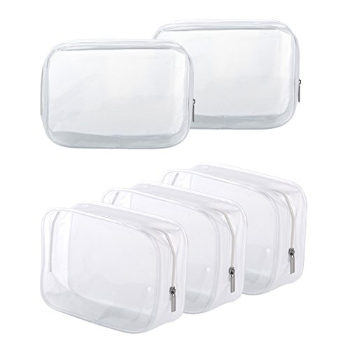 5 Pack Clear PVC Zippered Toiletry Carry Pouch Portable Cosmetic Makeup Bag for Vacation, Bathroom and Organizing (Transparent Pouch)