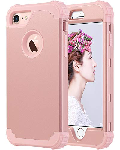 ULAK iPhone 8 Case, iPhone 7 Case, Heavy Duty Protection Shockproof Hybrid Soft Silicone & Hard PC Rugged Bumper Anti Slip Full-Body Protective Cover for iPhone 7 4.7 inch, Rose Gold