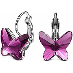"[Deal of the Day]T400 Jewelers ""Dream Chasers"" Butterfly Hoop Earrings Made with Swarovski Crystals, Purple Love Gift"