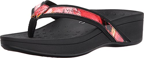 Floral Leather Thong Sandal - Vionic Women's Pacific High Tide Toepost Sandals - Ladies Mid Heel Flip Flops with Concealed Orthotic Support - Black Floral 9M