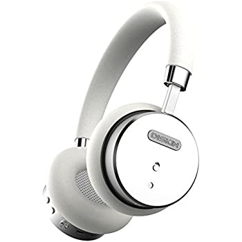 Diskin DH1 Bluetooth Wireless Headphones with Inline Microphone, Stereo Sound Audiophile Beats, Lightweight Bluetooth Headset - White / Silver