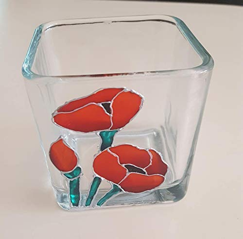 Red Poppy Flower Hand Painted Stained Glass Square Candle Holder, Floral Decor ()