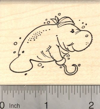 Manatee Pirate with Hook and Bandana Rubber Stamp