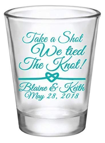 Personalized wedding favor shot glasses, take a shot we tied the knot, customized just for you!]()