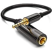 deleyCON 0,2m Câble Adaptateur Jack Stéréo Audio - Jack Mâle 3,5mm vers Jack Femelle 6,3mm - Jack Mâle & Femelle Doré – Noir