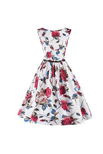 Swing sans manches Vintage des années 1940 robe des femmes avec ceinture