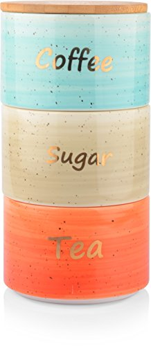 Uno Casa Ceramic Canister Set For Coffee Tea Sugar - 3 Piece Kitchen Storage Jars with Bamboo Airtight Lid - Suitable As Food Containers … (Bamboo Kitchen Storage Canister)