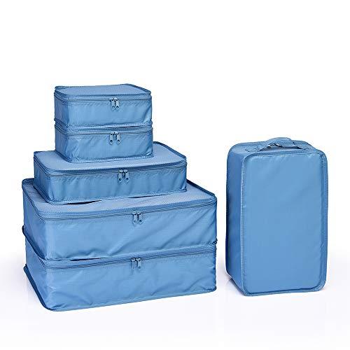 JJ POWER Travel Packing Cubes 6 Set, Luggage Packing Organizers for Week Trip, Packing Bags Large/Medium/Small + Shoe Bag (Sea Blue) ()