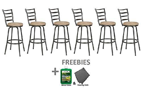 - Roundhill Furniture Round Seat Bar/Counter Height Adjustable Metal Bar Stool, Metallic (Set of 6)