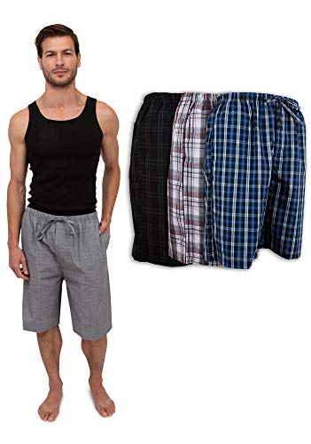 - Men's 3 Pack Super Soft Woven Pajama & Sleep Jam Cargo Short Lounge Pants (XX-Large, 3 Pack - Assorted Brilliant Plaids)