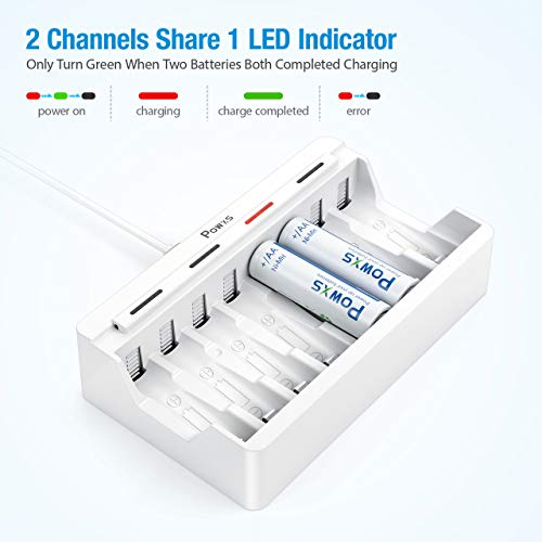 POWXS AA AAA Rechargeable Battery Charger, 8 Bay Independent Battery Charger for Ni-MH Ni-CD Rechargeable Batteries