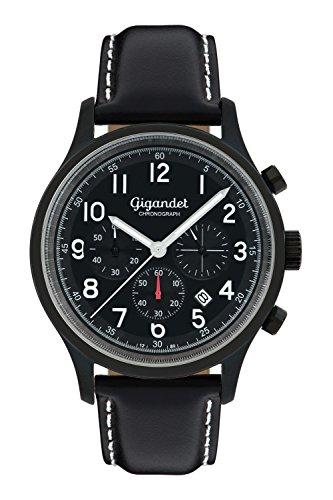 Gigandet Men's Quartz Watch Efficiency Chronograph Analogue Leather Strap Black G50-006