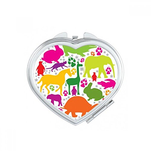 DIYthinker Round Shape Design Colourful Animals Heart Compact Makeup Pocket Mirror Portable Cute Small Hand Mirrors Gift by DIYthinker