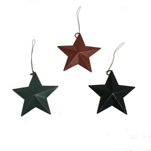 (Set of 12 Rustic Tin Barn Star Ornaments in Red, Green and Blue)