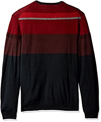 Calvin Klein Men's Merino Color Block Ottoman Crew Neck Sweater