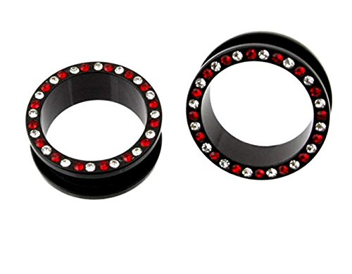 (JewelryVolt ACRYLIC SCREW BLACK EAR FLESH TUNNEL WITH RED & CLEAR GEM PLUGS GAUGES 23MM and 24MM (23 MM))