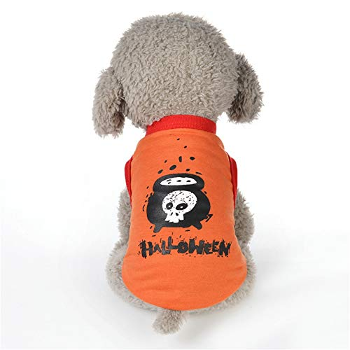 Yarssir Halloween Dog T Shirts Clothes Small Dogs Costumes Cat Tank Top Vest Pet Puppy Apparel Orange XL -
