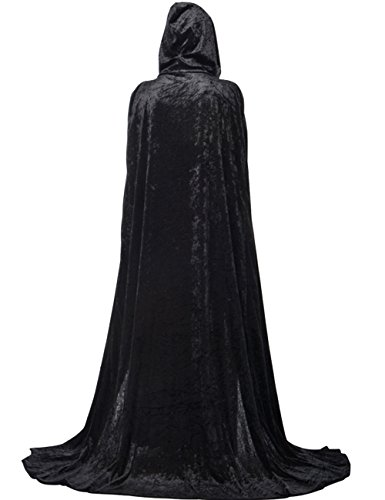 Dasior Adult Velvet Hooded Halloween Cloak Full Length Costume Witch Capes 75