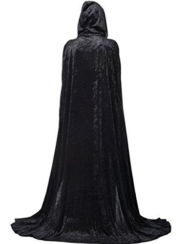 Men Velvet Hooded Halloween Cloak Plus Full Length Costume Wizard Cape 82