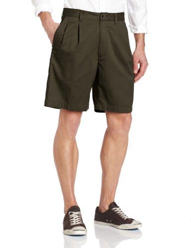 Savane Men's Eco-Start Classic Pleat Twill Short, Olive, 38