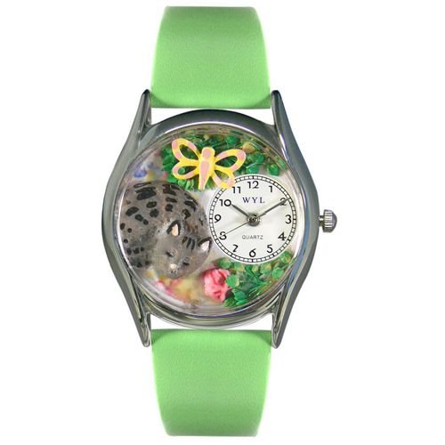 Whimsical Watches Women's Cat Nap Light Green Leather Watch